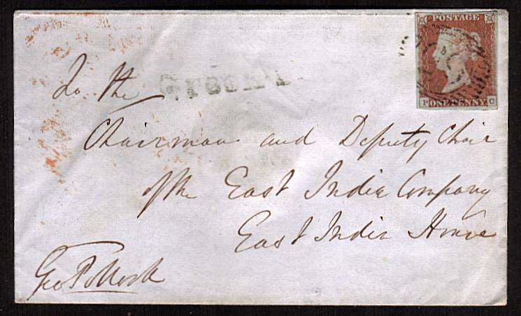 view larger front view of image for 1d Red lettered ''P-C'' with four good margins on a small complete local LONDON envelope cancelled MR 20 1848 to EAST INDIA COMPANY - EAST INDIA HOUSE that was located on Leadenhall Street (demolished 1861)