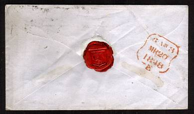 view larger back view of image for 1d Red lettered ''P-C'' with four good margins on a small complete local LONDON envelope cancelled MR 20 1848 to EAST INDIA COMPANY - EAST INDIA HOUSE that was located on Leadenhall Street (demolished 1861)