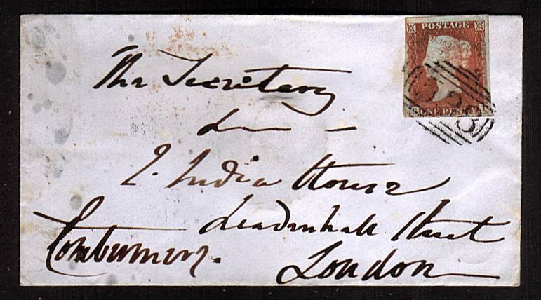 view larger front view of image for 1d Deep Red Brown lettered ''S-I'' with four good margins on a small envelope dated MR 25 1848 cancelled with a crisp ''538'' for NANTWICH to EAST INDIA HOUSE - LEADENHALL STREET - LONDON