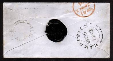 view larger back view of image for 1d Deep Red Brown lettered ''S-I'' with four good margins on a small envelope dated MR 25 1848 cancelled with a crisp ''538'' for NANTWICH to EAST INDIA HOUSE - LEADENHALL STREET - LONDON