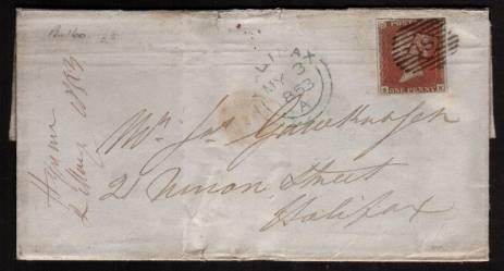view larger front view of image for 1d Red Brown with four large margins stated to be from Plate 160 lettered ''S-K'' on a complete entire cancelled with a LONDON ''18'' for DEPTFORD dated MY 3 1853 to HALIFAX.