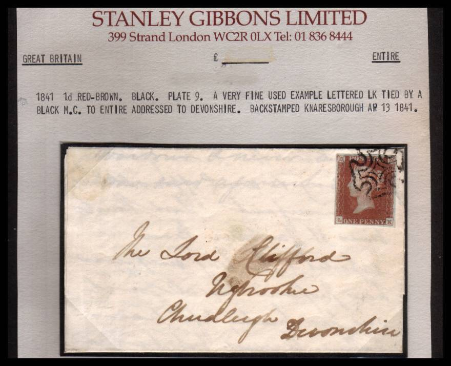 view larger front view of image for 1d Red- Brown from Black Plate 9 with four margins on SG Stockcard lettered ''L-K'' cancelled with a crisp Black Maltese Cross in entire from KNARESBOROUGH to CHUDLEIGH - DEVON dated AP 13 1841. Stunning! SG Cat �325