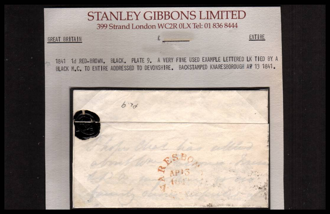 view larger back view of image for 1d Red- Brown from Black Plate 9 with four margins on SG Stockcard lettered ''L-K'' cancelled with a crisp Black Maltese Cross in entire from KNARESBOROUGH to CHUDLEIGH - DEVON dated AP 13 1841. Stunning! SG Cat �325
