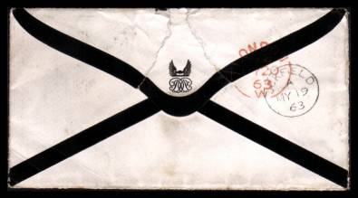 view larger back view of image for 1d Red ''Stars'' lettered ''R-D'' cancelled with a ''822'' for UCKFIELD on a mourning envelope to HYDE PARK - LONDON dated MY 19 63.