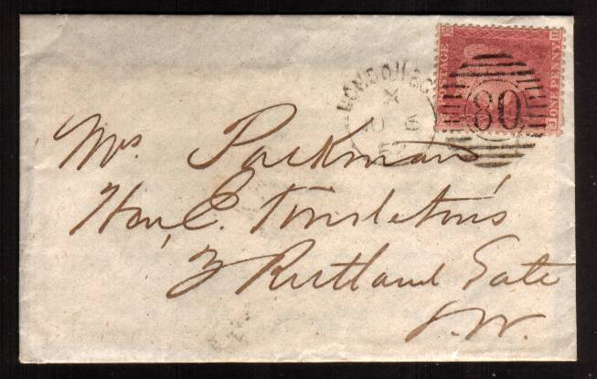view larger front view of image for 1d Red ''Stars'' lettered ''J-H'' on a tiny complete envelope with contents cancelled with a LONDON E.C. Duplex dated JU 6 62 to RUTLAND GATE - LONDON 