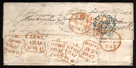 view larger back view of image for 1d Red lettered ''A-A'' with for margins cancelled with a BLUE ''583'' for NOTTINGHAM dated JY 27 1847 with multiple delivery attempts to LONDON. SG Cat for BLUE cancel �250