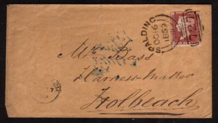 view larger front view of image for 1d Deep Red-Brown lettered ''R-J'' on a small envelope cancelled with a crisp, firm SPALDING Sideways Duplex dated OC 16 1859 on local cover to Mr Bass Harness Maker HOLBEACH