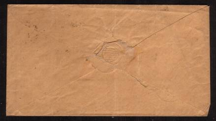 view larger back view of image for 1d Deep Red-Brown lettered ''R-J'' on a small envelope cancelled with a crisp, firm SPALDING Sideways Duplex dated OC 16 1859 on local cover to Mr Bass Harness Maker HOLBEACH
