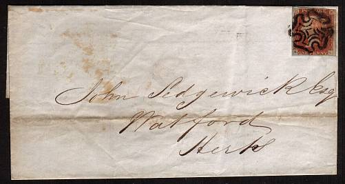 view larger front view of image for 1d Red lettered ''E-L'' with four clear marginas on an entire cancelled with a LONDON Maltese Cross to WATFORD dated inside SEPT 29 1841. 