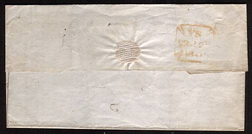 view larger back view of image for 1d Red lettered ''E-L'' with four clear marginas on an entire cancelled with a LONDON Maltese Cross to WATFORD dated inside SEPT 29 1841. 