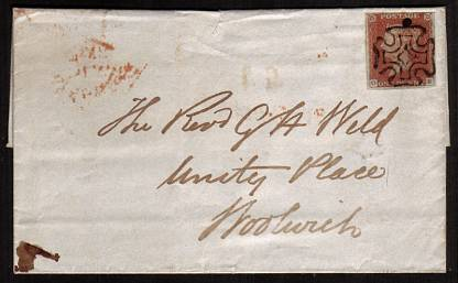 view larger front view of image for 1d Red-Brown on a complete entire with four margins lettered ''O-E'' from LONDON dated JY12 1843 to WOOLWICH cancelled with a Maltese Cross.