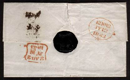 view larger back view of image for 1d Red-Brown on a complete entire with four margins lettered ''O-E'' from LONDON dated JY12 1843 to WOOLWICH cancelled with a Maltese Cross.