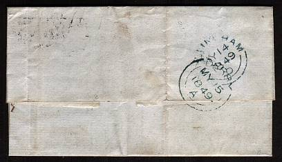 view larger back view of image for 1d Red-Brown with four large margins on entire lettered ''F-A'' cancelled with a ''583'' for NOTTINGHAM and dated JY 14 1849 to DERBY  