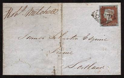 view larger front view of image for 1d Pale Red-Brown with four large margins lettered ''P-G'' on entire cancelled with an Irish ''448'' for WEXFORD to IRVINE in Scotland dated AP 18 1848. <br/><b>XZX</b>