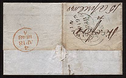 view larger back view of image for 1d Pale Red-Brown with four large margins lettered ''P-G'' on entire cancelled with an Irish ''448'' for WEXFORD to IRVINE in Scotland dated AP 18 1848. <br/><b>XZX</b>