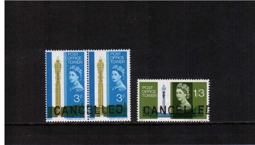 view larger image for SG 679-680 (1965) - Post Office Tower set of two superb unmounted mint  handstamped CANCELLED in Black for use by The Post Office Forensic Department. Rare.