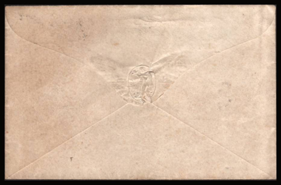 view larger back view of image for 1d Red ''Stars'' lettered ''C-F''  VALENTINE cover with a LEWIS sideways duplex ''451'' dated FE 13 61 on a stunning complete heavily embossed fancy envelope. Such covers are usually damaged but this one is without faults.<br/><b>QBQ</b>
