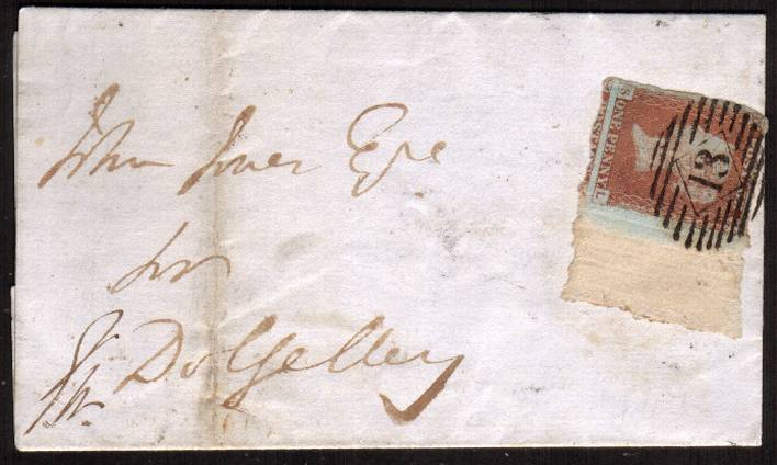 view larger front view of image for 1d Red Imperf lettered ''S-L''<br/>cancelled with a LONDON ''13'' for STRATFORD dated MY 3 1847 to CORWEN in Wales. Very, very unusually the stamp was torn from the sheet and shows full deckle edge margin. Find another!