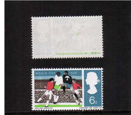 view larger image for SG 694var (1966) - World Cup Football the 6d stamp superb unmounted mint   showing an offset on the gum of the APPLE-GREEN