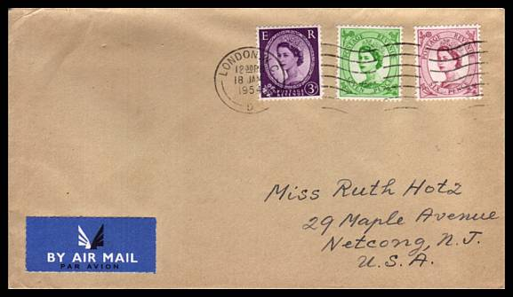 view larger back view image for The 3d, 6d and 7d TUDOR CROWN watermark set of three on plain hand written address envelope to USA. Fresh!