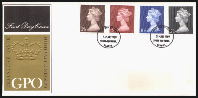 view larger back view image for Machin Head High Values set of four on unaddressed (label removed) GPO Official FDC cancelled with two STOKE-ON-TRENT steel CDSs dated 5 MAR 1969<br/><b>QHQ</b>