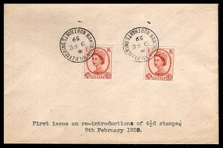 view larger back view image for 4�d Chestnut (two examples) on a small UNADDRESSED envelope cancelled with a crisp steel CDS for KETTERING - NORTHANTS dated 9 FE 59.<br/> 