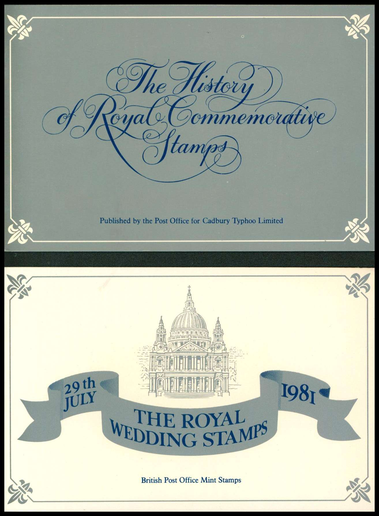 Stamp Image: view larger back view image for The Royal Wedding special pack published by Cadbury Typhoo Ltd.<br/>Lower scan is the folder containing stamps, upper is colour information booklet.