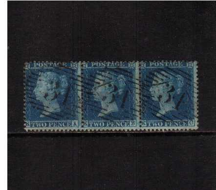 view larger image for SG 35 (1857) - 2d Blue from Plate 6 - Large Crown - Perf 14<br/>A fine strip of three lettered 'K-A to K-C' superb fine used.
