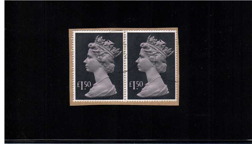 view larger image for SG 1026e (1986) - �1.50 Pale Mauve and Grey-Black superb fine used pair on piece