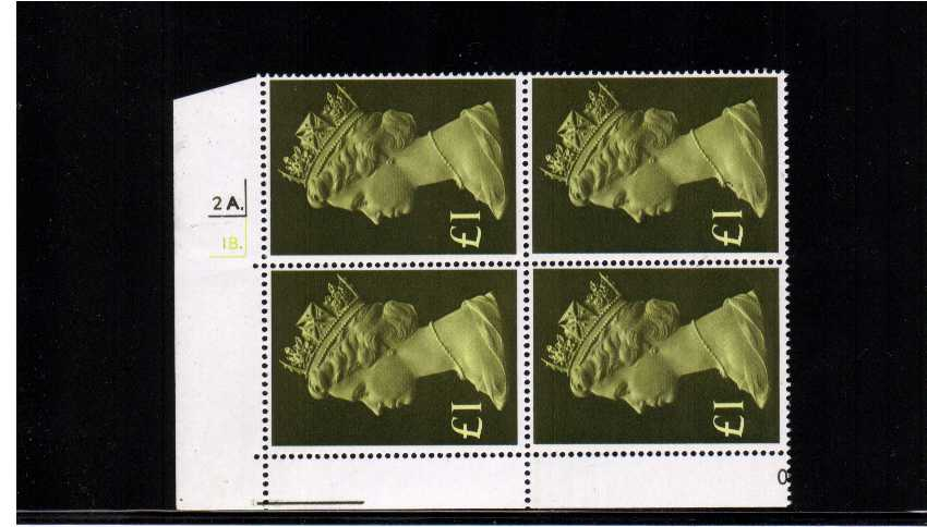 view larger image for SG 1026 (1977) - �1 Yellow Green. As superb unmounted cylinder block of four - Cylinder number 2A.1B.