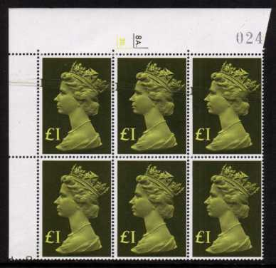 view larger image for SG 1026var (1977) - �1 Yellow-Green A superb unmounted mint cylinder block of six 8A. 3B. showing a superb ink swirl affecting three stamps and resulting in ink extending off the side of the sheet. Unusual to find especially on higher values.