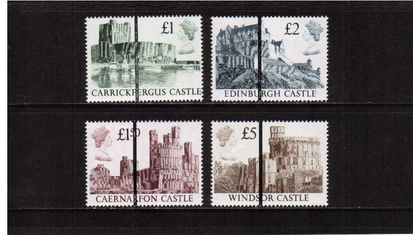 view larger image for SG 1410-13var (1988) - Castles set of four superb unmounted mint each stamp with a Black Bar for use at the POST OFFICE TRAINING SCHOOL