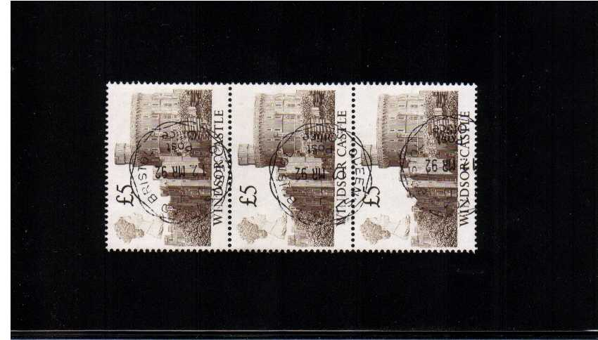 view larger image for SG 1413 (1988) - �5 Deep Brown a stunning superb used CDS vertical strip of three