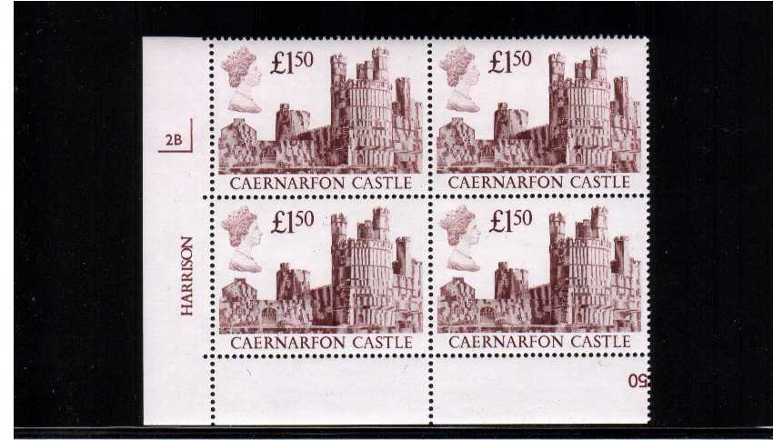 view larger image for SG 1411 (1988) - �1.50 Maroon - A superb unmounted mint Plate Block of four lettered - 2B