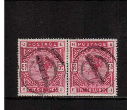 view larger image for SG 180 (1883) - 5/- Rose pair lettered 'E-G' to 'E-H' each cancelled with a dumb rubber GUERNSEY circular cancel. SG Cat �0