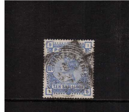 view larger image for SG 183 (1883) - 10/- Ultramarine lettered 'I-B' cancelled with an indistinct  THREADNEEDLE ST 'squared circle' Excellent centering and colour. SG Cat �5