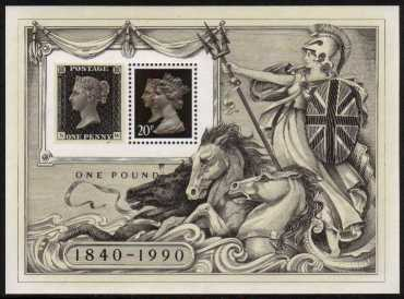 view larger image for SG MS1501 (3 May 1990) - 'Stamp World London '90' Penny Black minisheet
