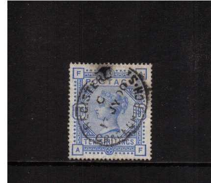 view larger image for SG 183 (1883) - 10/- Ultramarine lettered 'A-F' cancelled with an oval REGISTERED GRACECHURCH ST cancel dated 13 JY 00. A sound used stamp SG Cat �5