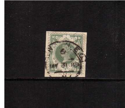 view larger image for SG 211 (1887) - 1/- Green tied to a small piece with a London 'hooded circle' dated MY 31 89. SG Cat £60
