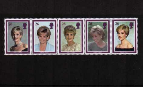 view larger image for SG 2021-2025 (1998) - Diana commemoration<br/>strip of five
