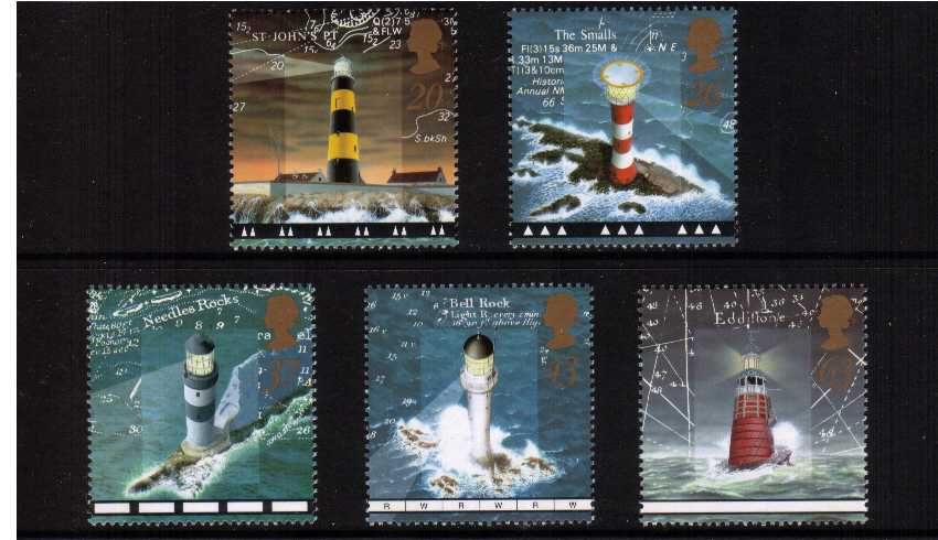view larger image for SG 2034-2038 (1998) - Lighthouses<br/>set of five