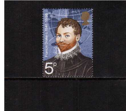 view larger image for SG 925Ed (1973) - British Explorers the 5p stamp superb unmounted mint with <b>EMBOSSING OMITTED</b>