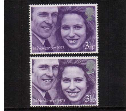view larger image for SG 941var (1973) - Royal Wedding the 3�p stamp in superb unmounted mint condition in two distinct shades.