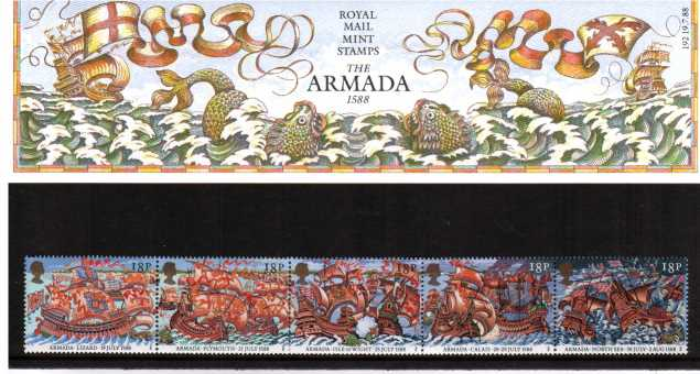 Stamp Image: view larger back view image for 40th Anniversary of Spanish Armada<br/><br/>