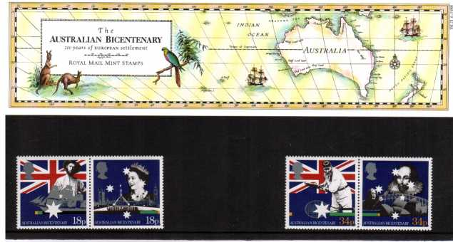 Stamp Image: view larger back view image for Bicentenary of Australian Settlement<br/><br/>