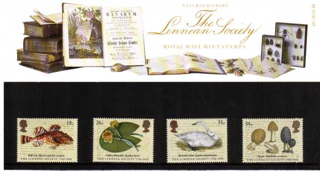 Stamp Image: view larger back view image for The Linnean Society<br/><br/>