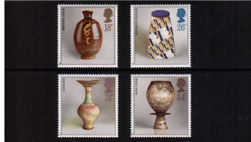view larger image for SG 1371-1374 (1987) - Studio Pottery set of four