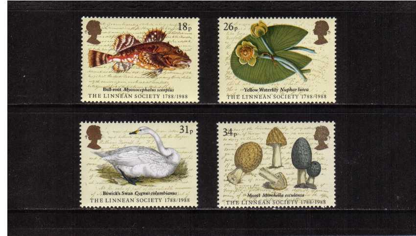 view larger image for SG 1380-1383 (1988) - Bicentenary of the Linnean Society set of four