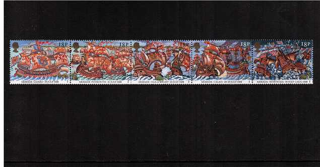 view larger image for SG 1400-1404 (1988) - Anniversary of Spanish Armada strip of five