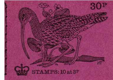 British Stamps QE II Stitched Decimal Booklets Item: view larger image for SG DQ56 (1971) - 30p Booklet <br/>Dated February 1971 - No 1 Curlew